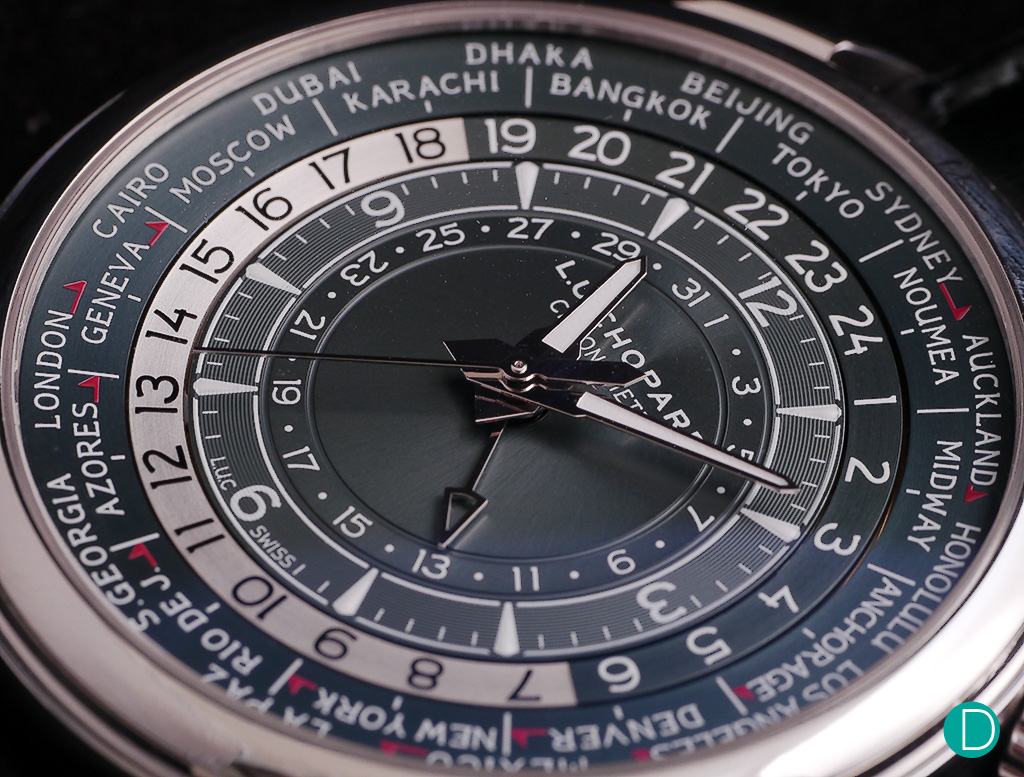 The platinum dial in blue grey showing the 24 timezones simultaneously.