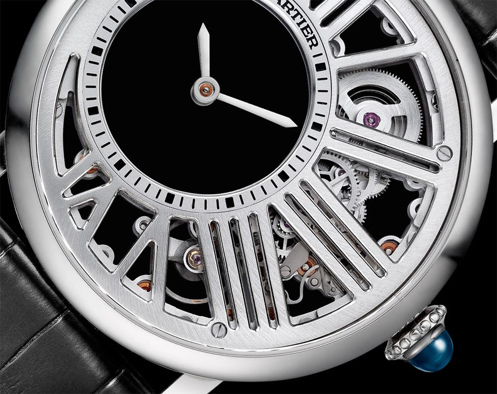 High Quality Replica Swiss Made Cartier Rotonde De Cartier Mysterious Hour Skeleton Watch